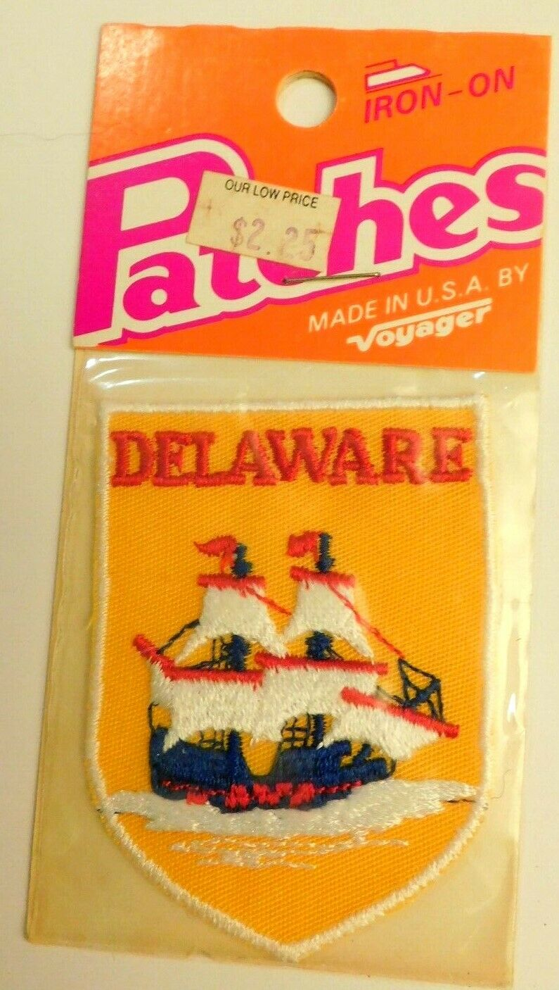 Vintage NOS Iron On Patch State DELAWARE Souvenir Patriotic Unopened 2 1/2x3""