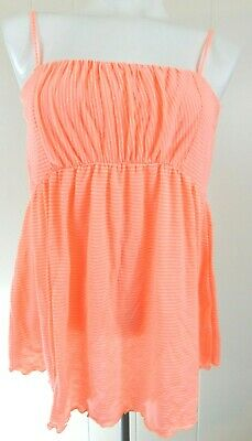 Free People Women's Small Tank Easy Breezy Striped Tube Top Pink Strapless EUC
