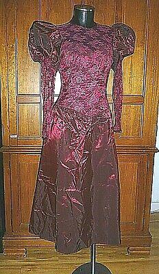 80s Dresses | Casual to Party Dresses VTG 80s Ruby Red Sheer Lace Taffeta Puff Slv Boho Romantic Wedding Maxi DRESS $46.40 AT vintagedancer.com