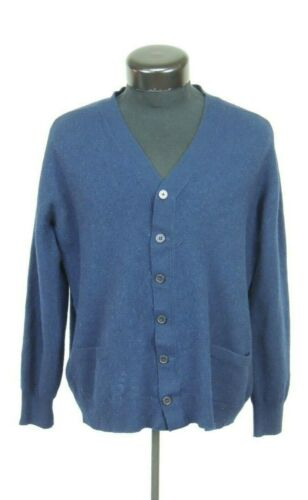 Men Lyle Scott Made Scotland Wool Navy Blue Grandpa Teacher Sweater Cardigan M