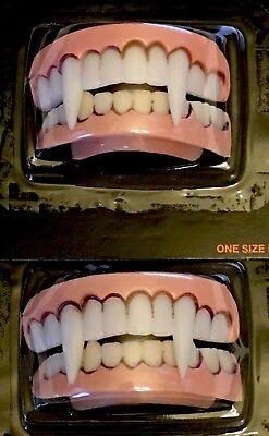 Vampire Teeth X 2 - top and bottom flexible molded - HALLOWEEN costume - NIP
