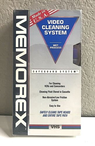 New MEMOREX Video Cleaning System Wet Process For VCRs & Camcorders Non-Abrasive