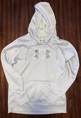 EUC UNDER ARMOUR hoodie sweatshirt Womens SIZE medium - grey With Rhinestone