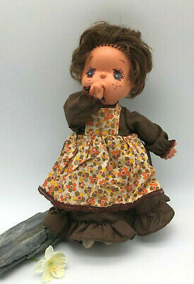 Vintage Doll 1970's/80's Thumb Sucking Vinyl and Cloth with Retro Dress
