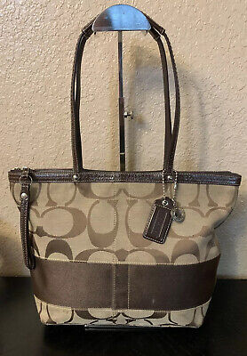 Coach Signature Jacquard Brown Handbag Shoulder Stripe Tote Purse -F13548