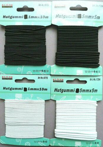 Hutgummi Rundgummi Gummiband weiß schwarz  1mm x 10m  5mm x 5m  Gummikordel