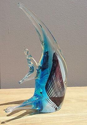 "New 8"" Hand Blown Art Glass Angel Fish Figurine Sculpture Blue Black Clear"