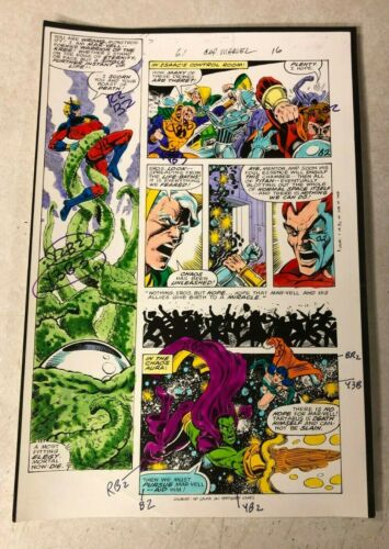 CAPTAIN  MARVEL #61 art color guide 1979 battles TARTARUS DRAX CHAOS EROS
