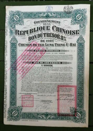 CHINA LUNG TSING U HAI 1921 8% chemin de fer 7 pieces