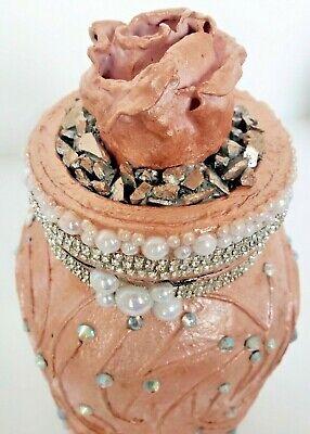 Pink Rose Gold Shabby Chic Bling Decoupage Art Mason Jar Storage Centerpiece