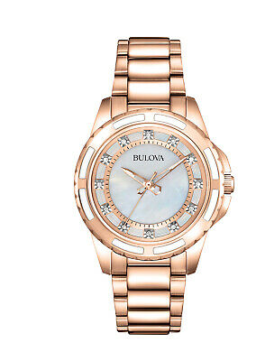 Bulova Women's Quartz Diamond Accent Rose-Gold Tone 32mm Watch 98P141