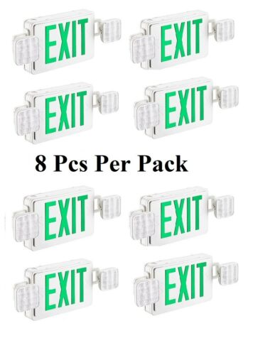 8Pcs-Pack LED Exit Sign light Combo in Green Color 90 Minutes Battery back Up