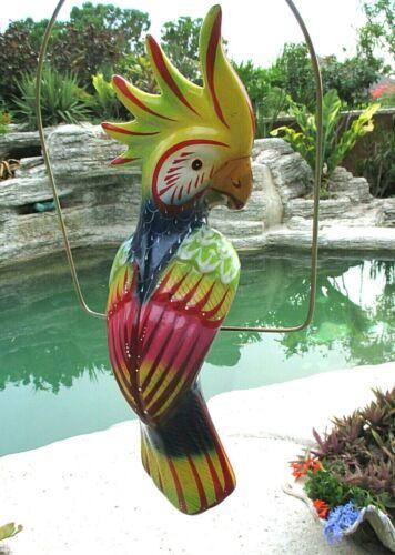 "Mexican Folk Art Pottery Ceramic Bird Cockatoo Parrot Metal Ring Perch 17"""