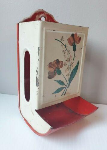 "Vintage Metal Wall Mount Match Box Holder Dispenser Flowers Red 6"""