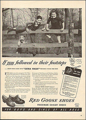 1950's Vintage ad for Red Goose Shoes`Retro Fashion Fence Dog Children  (062817)