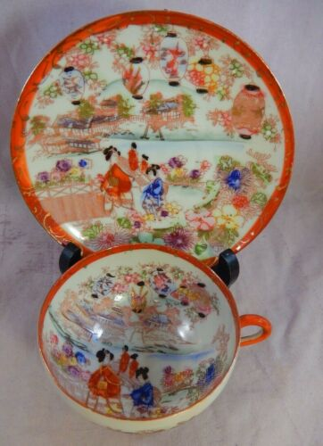Antique Japanese Kutani Style Hand Painted Tea Cup & Saucer Geisha Gold Trim