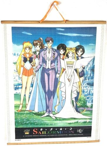 """Sailor Moon 15 1/2"""" x 12 1/2"""" Wall Hanging Tapestry 1999 Licensed By DIC"""