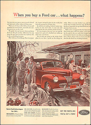 1941 Vintage ad for Ford`retro car red Art  072417