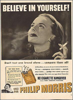 1950's Vintage ad for Philip Morris Cigarettes Pretty Model Tobacco  ( 032117)