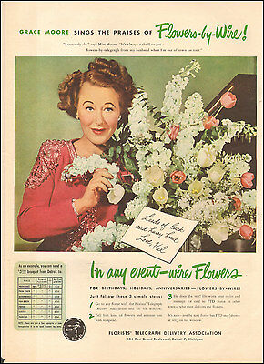 1945 Vintage ad for Florists Telegraph Delivery Association`Grace Moore (122816)