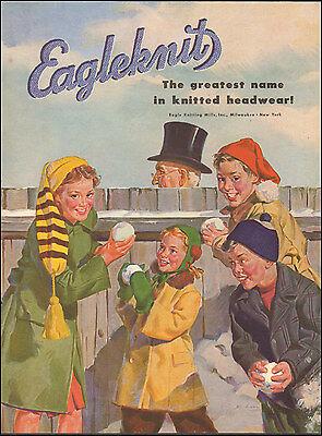 1946 vintage AD EAGLEKNIT  Knitted Headwear Milwaukee  Great  ART!  112016