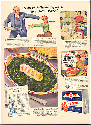 1942 Vintage ad for Birds Eye Frosted Foods Spinach Eggs Art`WWII era  (011517))
