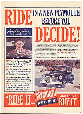 1941 Vintage ad for Plymouth retro car Black   072417