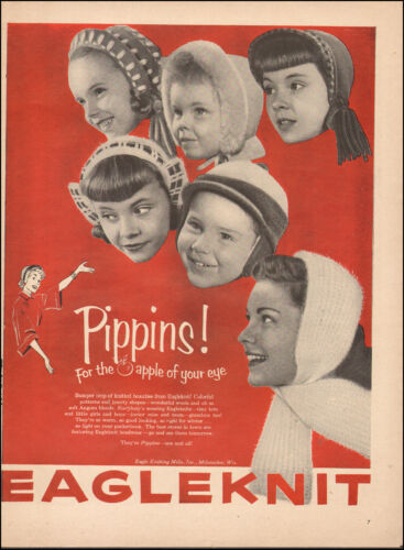 1953 Vintage ad for Eagleknit  Knitted Caps Photo Retro Fashion (060217)