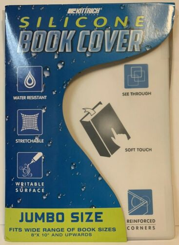 Kittrich Jumbo Silicone Stretch See Through School Book Cover - Clear 8x10