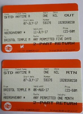 NATIONAL RAIL RETURN TICKETS FOR JULY 7 2017 TO/FROM BRISTOL / ABERGAVENNY