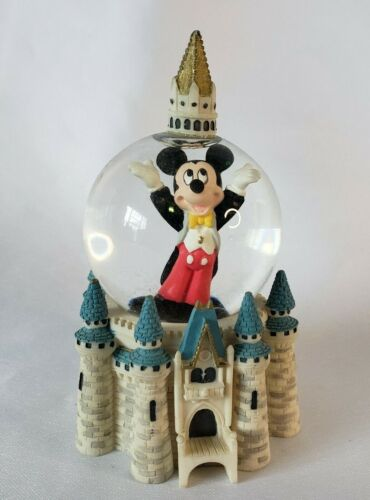 """Disneyland Parks Snow Globe Mickey Mouse Castle 3.5"""" Small Glass Resin"""