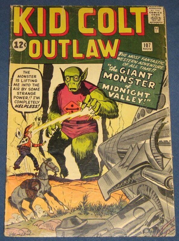 Kid Colt Outlaw #107 Nov 1962 Atlas Western Kirby Monster Cover