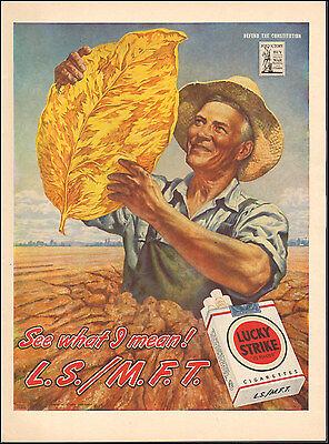 1945 Vintage ad Lucky Strike Cigarettes`Art WWII era Tobacco Leaf  122816)