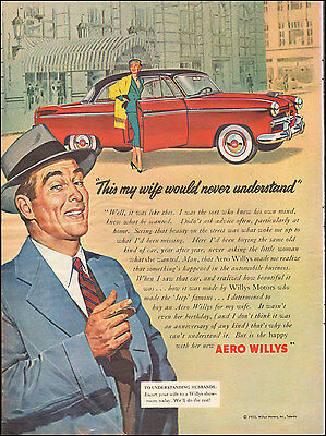 1953 Vintage ad for AERO WILLYS`Red Retro Car Art  Photo  (092116)