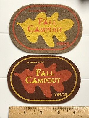 Lot of 2 Bloomington Indiana YMCA Fall Campout Oak Leaf Felt Patches Patch lot