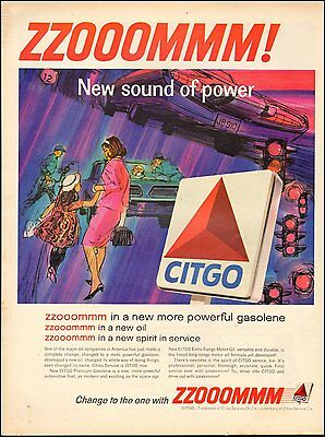 1965 Vintage ad for CITGO Gasolene`Sign Colorful Art 60's Fashion (031716)