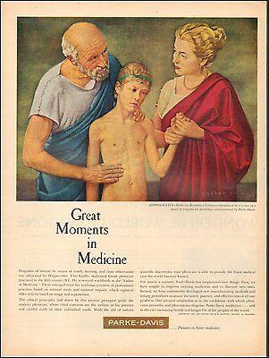 1959  AD PARKE-DAVIS Pharmaceuticals Art by Robert Thom Hippocrates  (092616)