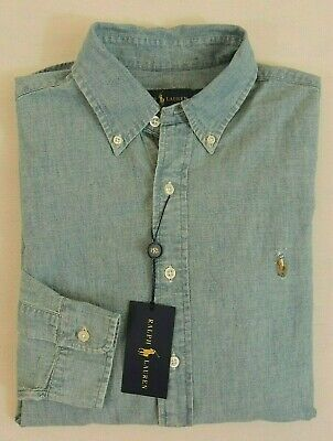 Polo Ralph Lauren Indigo Chambray Long Sleeves Denim Classic Pony Shirt S M L -