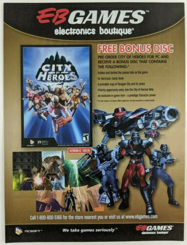 City of Heroes EB Games Print Ad Game Poster Art PROMO Electronics Boutique