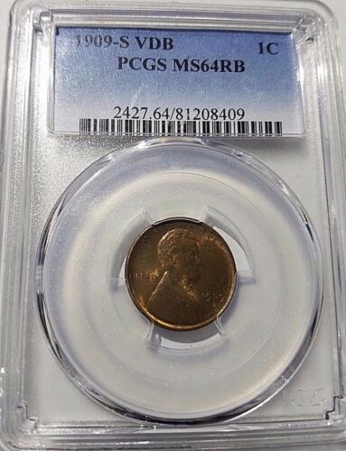 1909-s Vdb Lincoln Cent Pcgs Ms-64 Rb Once In A Lifetime Coin!!  Rare!