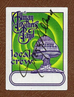 GREGG ALLMAN Signed Rock Great ALLMAN BROTHERS BAND Unused Cloth LOCAL CREW TAG