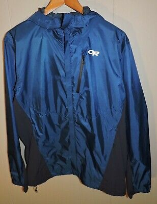 Outdoor Research OR Helium Hybrid Hooded Blue Pertex Lightweight Rain Jacket L