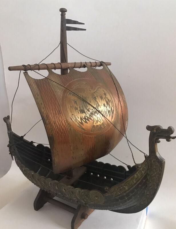 EDWARD AAGAARD Viking Ship Iron Art  Copenhagen Denmark Metal Danish