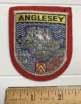 Anglesey Island Wales UK United Kingdom Welsh Souvenir Red Felt Patch for sale  Shipping to Canada