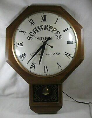 Schweppes Clock Electric Wall Hanging & Pendulum Tested Works Great! Vintage