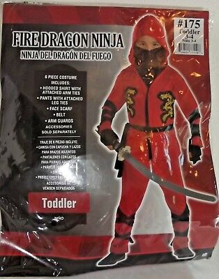 Fire Dragon Ninja Costume (FIRE DRAGON NINJA COSTUME - Toddler 3-4 - Warrior Karate Samurai)