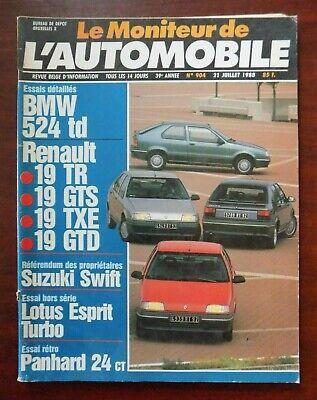 Moniteur automobile n° 904 Renault 19 - BMW 524 td - Lotus Esprit - Panhard 24..