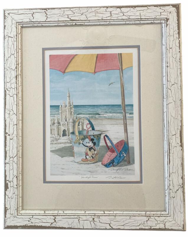 Signed David E Doss Mickey's Dance Walt Disney Beach Bucket Art Framed Exclusiv