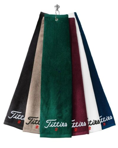 Titties 2 -Golf-PGA-Bachelor- - Grommeted Tri-Fold Golf Towel