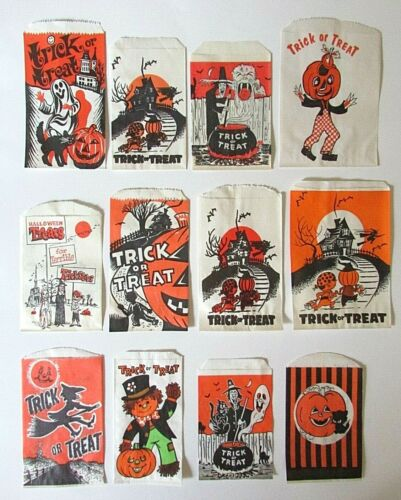 Lot of 12 Vtg Halloween Paper Trick Treat Candy Craft Bags Witch Haunted House